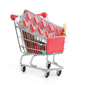 Shopping trolley with pills and medicine — Stock Photo