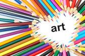 çok renkli kalemler üzerinde beyaz izole — Stok fotoğraf