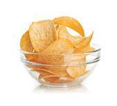 Delicious potato chips in bowl isolated on white — Foto de Stock
