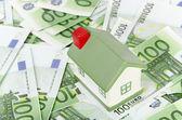 Cottage on euro background — Stock Photo