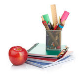 Pencil box with school equipment — Stockfoto