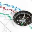 Compass on the table and graph — Stock Photo #22127985