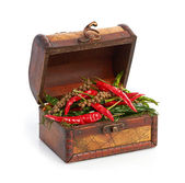 Antique wooden chest and spices — Stock Photo