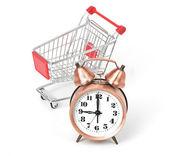 Carro de compras con reloj — Foto de Stock