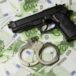 Old gun and money — Foto Stock