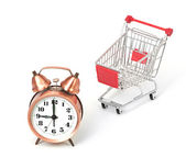 Shopping cart with clock — Stock fotografie