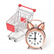 Shopping cart with clock — Stock Photo #24503867