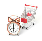 Shopping cart with clock — Stock Photo