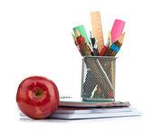 Κιβώτιο μολυβιών με Εξοπλισμός Σχολείων — Φωτογραφία Αρχείου