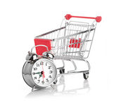 Buying time concept with clock — Stok fotoğraf