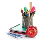 Pencil box with school equipment — Stock Photo