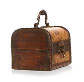 Feche a caixa de madeira de isolado no fundo branco — Foto Stock