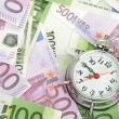 Alarm clock for euro banknotes — Stock Photo #27473207