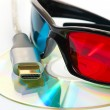 Stock Photo: Hdmi and 3d glasses