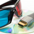 Stock fotografie: Hdmi and 3d glasses