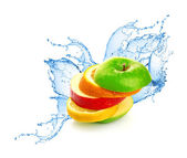 Fruit mix in water splash — Stock Photo