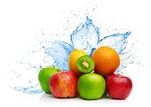 Fruit mix in water splash — 图库照片