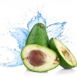 Stock Photo: Avocado with water splash