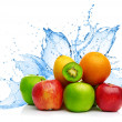 Fruit mix in water splash — ストック写真
