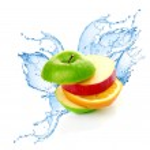 Fruit mix in water splash — Stock Photo