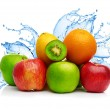 Fruit mix in water splash — Stok fotoğraf