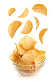 Bowl of potato chips isolayed on white — Stock Photo
