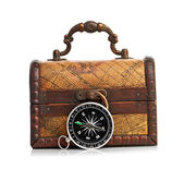 Chest and compass — Stock Photo