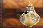 Chest and aladin lamp — Stock Photo