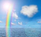 Fluffy cloud like a heart — Stock Photo