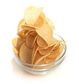Delicious potato chips in bowl — Stock Photo