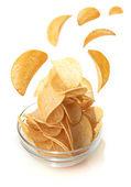 Bowl of potato chips — Stock Photo