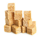 Brown cane sugar cubes — 图库照片