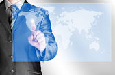 Business man touch world map and connection — Stock Photo