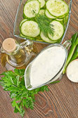 White sauce with cucumbers and olive oil — Stock Photo