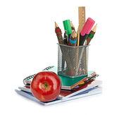 Pencil box with school equipment — Stock Photo