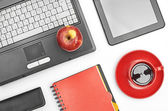 Laptop and office supplies — Foto de Stock