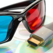 Hdmi and 3d glasses — Stockfoto