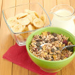 Cereal in bowl with milk — Stock Photo