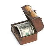 Dollars in wooden treasure chest — Stok fotoğraf