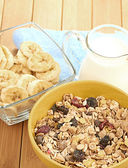 Cereal in bowl with milk — Foto Stock