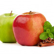 Stock Photo: Red and green apple