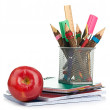 Stock Photo: Pencil box with school equipment