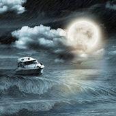 Boot in Oceaan en — Stockfoto