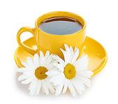 Tea and camomiles — Stock Photo