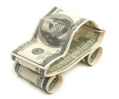 Car made from dollars — Stock Photo