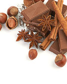 Chocolate, nuts and spice — Stock Photo