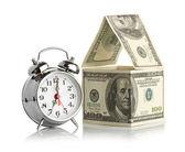 Alarm clocknd house made of dollars — ストック写真