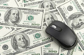 Dolarů a myš — Stock fotografie