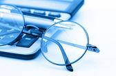 Brýle a pero — Stock fotografie