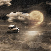 Boat in storm evening — Stockfoto